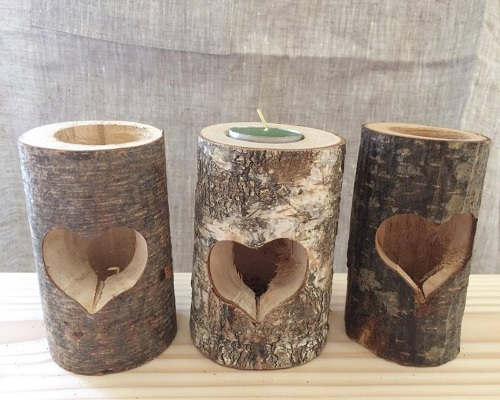 """Candlestick made of natural wood, """"Heart"""""""